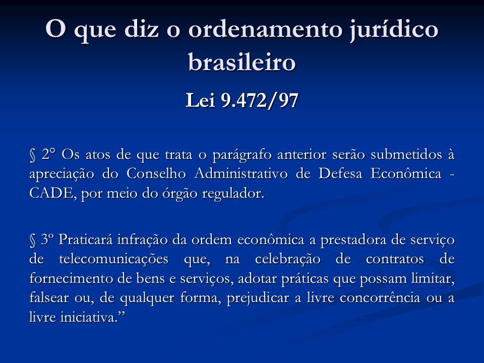 O que diz o ordenamento jurídico brasileiro Lei 9.472/97 § 2° Os atos de que trata o parágrafo anterior serão submetidos à apreciação do Conselho Admi