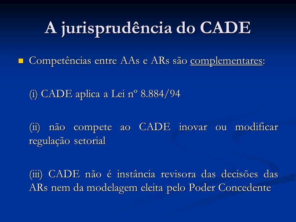 A jurisprudência do CADE Competências entre AAs e ARs são complementares: Competências entre AAs e ARs são complementares: (i) CADE aplica a Lei nº 8.