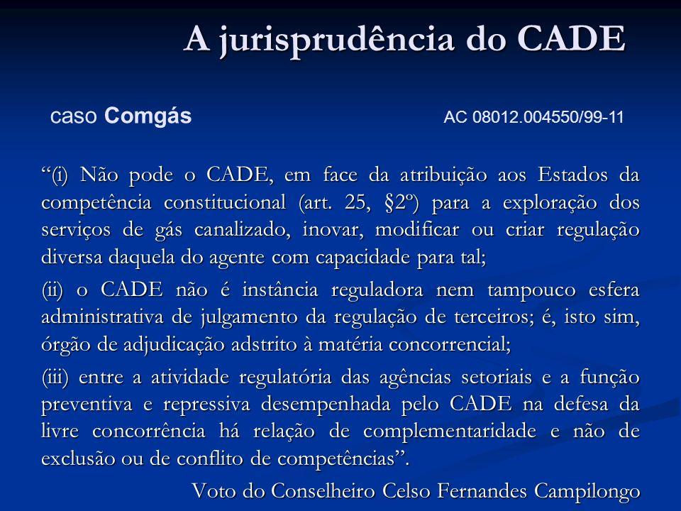 (i) Não pode o CADE, em face da atribuição aos Estados da competência constitucional (art. 25, §2º) para a exploração dos serviços de gás canalizado,