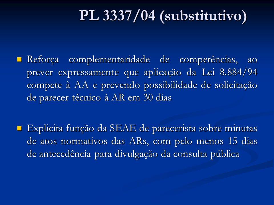 Reforça complementaridade de competências, ao prever expressamente que aplicação da Lei 8.884/94 compete à AA e prevendo possibilidade de solicitação