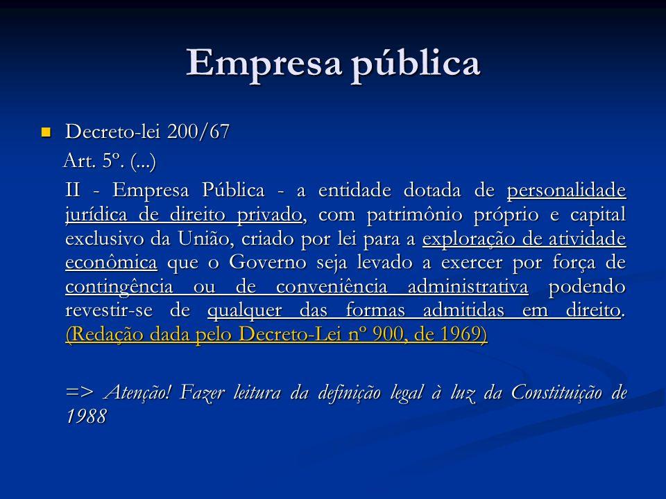 Empresa pública Decreto-lei 200/67 Decreto-lei 200/67 Art. 5º. (...) Art. 5º. (...) II - Empresa Pública - a entidade dotada de personalidade jurídica