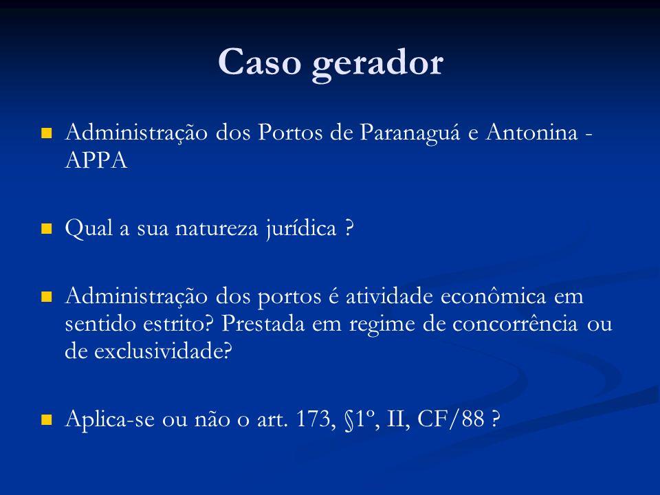 Caso gerador Administração dos Portos de Paranaguá e Antonina - APPA Qual a sua natureza jurídica ? Administração dos portos é atividade econômica em