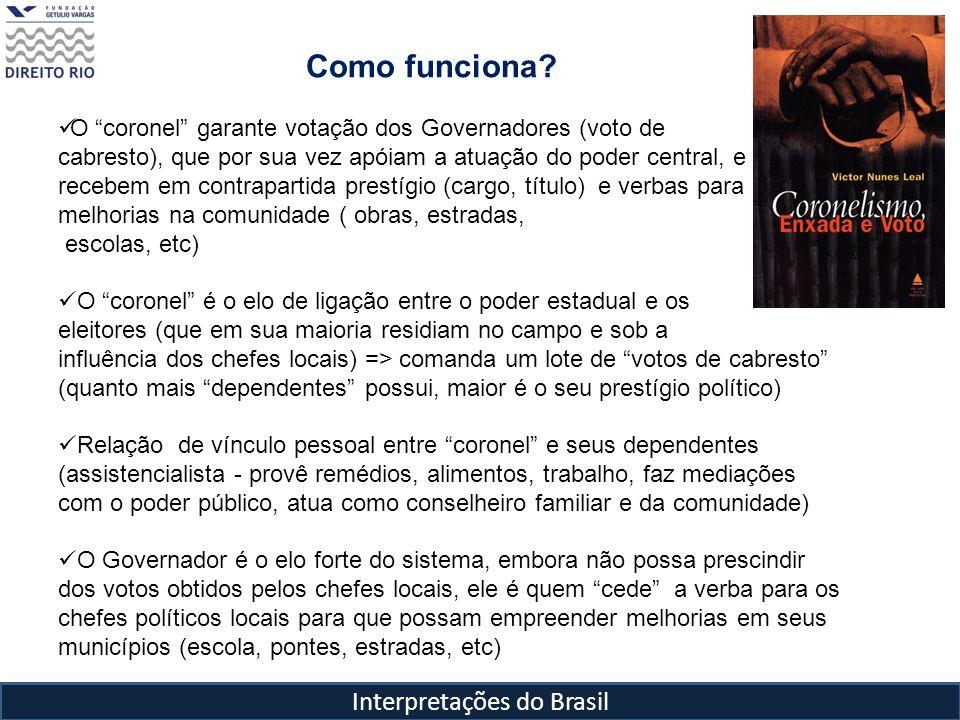 Interpretações do Brasil Como funciona? O coronel garante votação dos Governadores (voto de cabresto), que por sua vez apóiam a atuação do poder centr