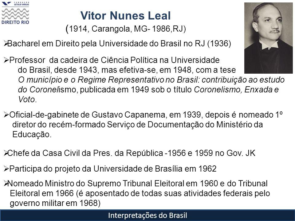 Vitor Nunes Leal ( 1914, Carangola, MG- 1986,RJ) Interpretações do Brasil Bacharel em Direito pela Universidade do Brasil no RJ (1936) Professor da ca