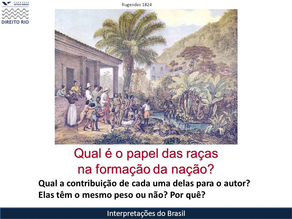 Interpretações do Brasil Qual é o papel das raças na formação da nação? Qual a contribuição de cada uma delas para o autor? Elas têm o mesmo peso ou n
