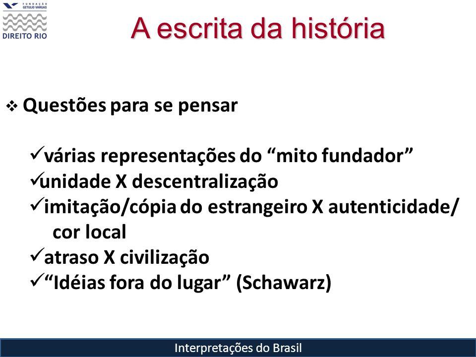 Interpretações do Brasil A escrita da história Questões para se pensar várias representações do mito fundador unidade X descentralização imitação/cópi
