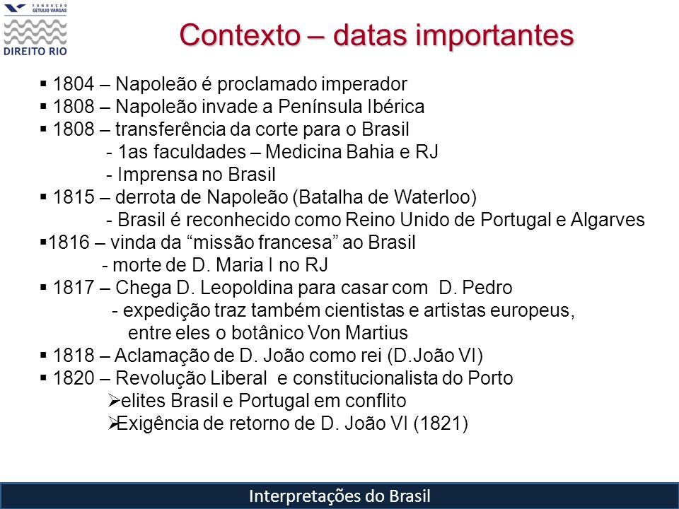 Interpretações do Brasil 1804 – Napoleão é proclamado imperador 1808 – Napoleão invade a Península Ibérica 1808 – transferência da corte para o Brasil