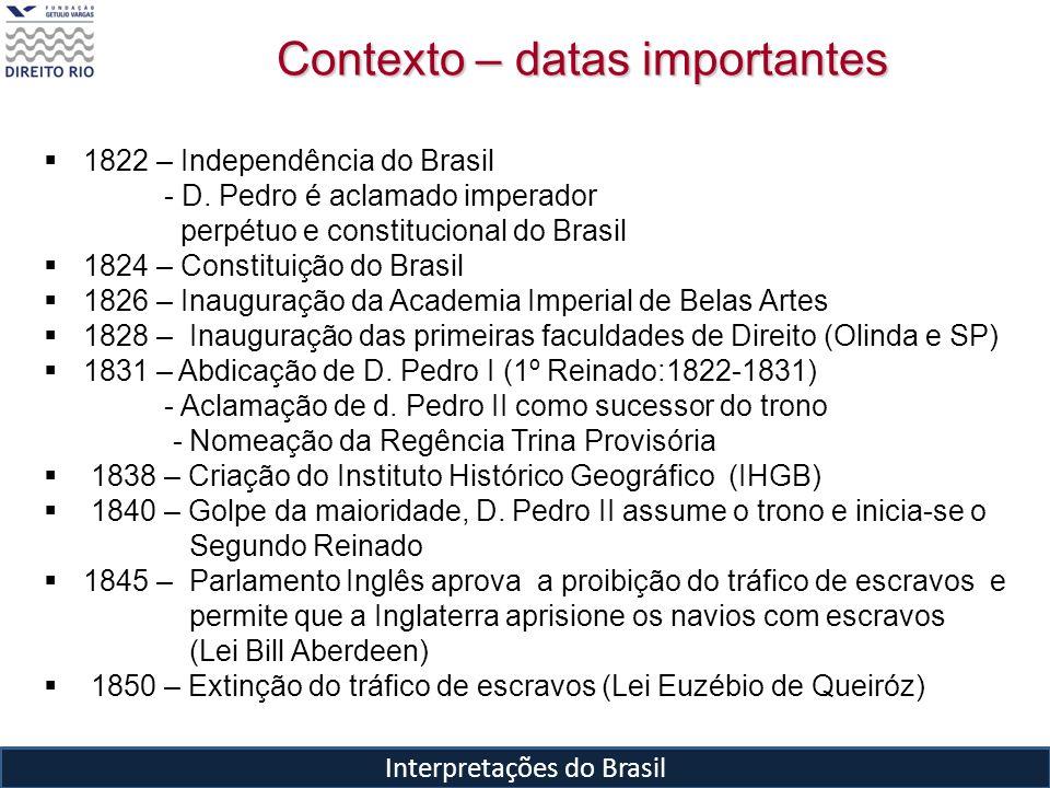 Interpretações do Brasil 1822 – Independência do Brasil - D. Pedro é aclamado imperador perpétuo e constitucional do Brasil 1824 – Constituição do Bra