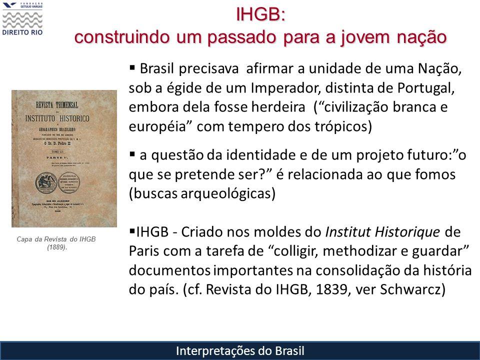 Interpretações do Brasil Brasil precisava afirmar a unidade de uma Nação, sob a égide de um Imperador, distinta de Portugal, embora dela fosse herdeir