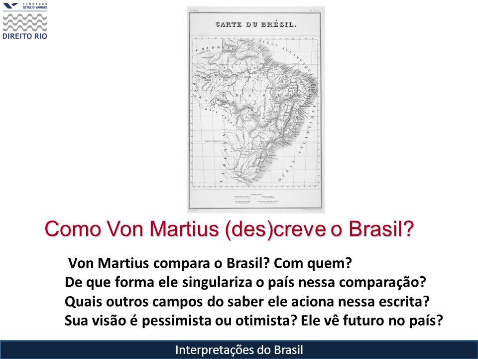Interpretações do Brasil Como Von Martius (des)creve o Brasil? Von Martius compara o Brasil? Com quem? De que forma ele singulariza o país nessa compa