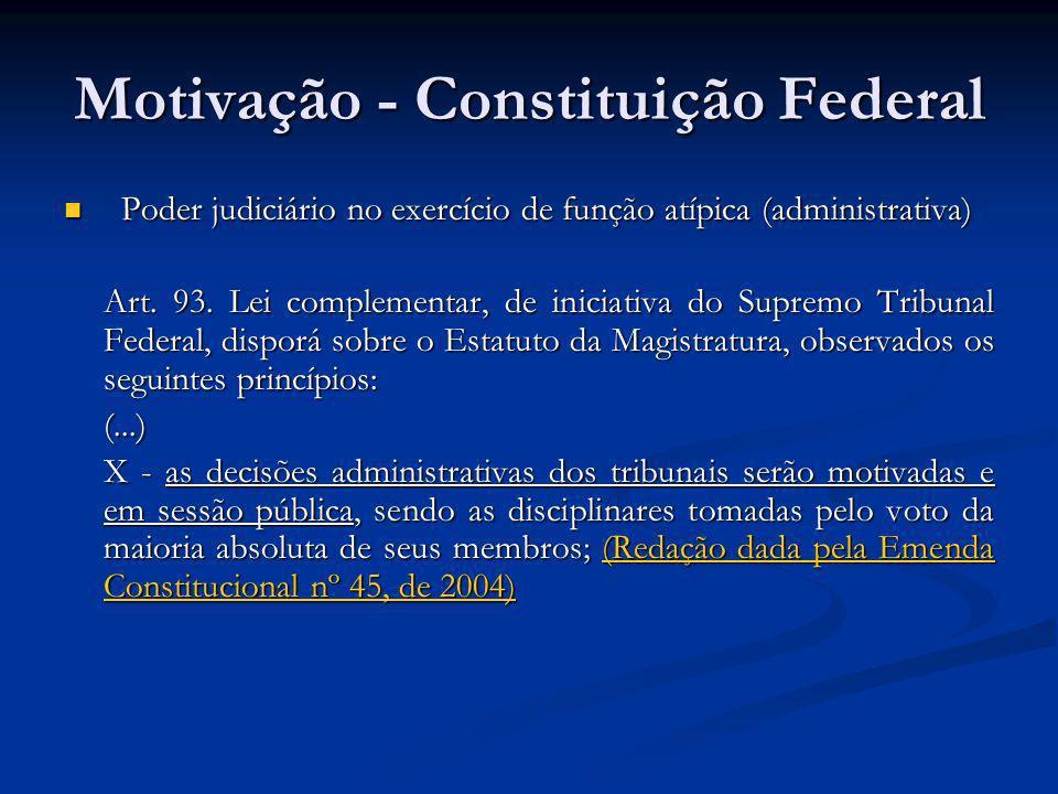 Motivação - Constituição Federal Poder judiciário no exercício de função atípica (administrativa) Poder judiciário no exercício de função atípica (adm