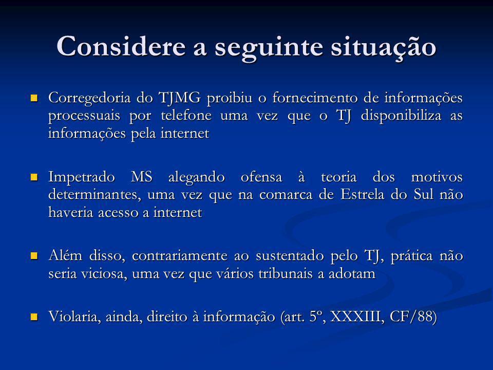 Considere a seguinte situação Corregedoria do TJMG proibiu o fornecimento de informações processuais por telefone uma vez que o TJ disponibiliza as in