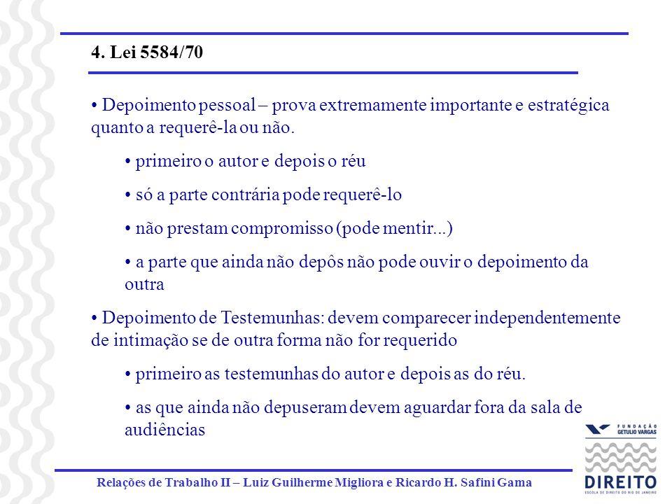 Relações de Trabalho II – Luiz Guilherme Migliora e Ricardo H. Safini Gama 4. Lei 5584/70 Depoimento pessoal – prova extremamente importante e estraté