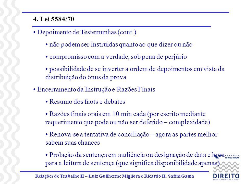 Relações de Trabalho II – Luiz Guilherme Migliora e Ricardo H. Safini Gama 4. Lei 5584/70 Depoimento de Testemunhas (cont.) não podem ser instruídas q
