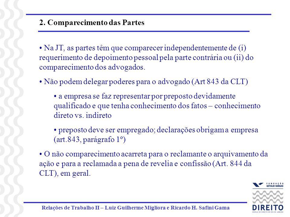 Relações de Trabalho II – Luiz Guilherme Migliora e Ricardo H. Safini Gama 2. Comparecimento das Partes Na JT, as partes têm que comparecer independen