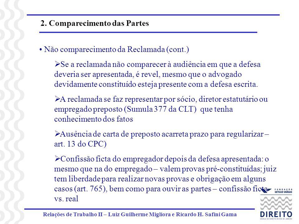 Relações de Trabalho II – Luiz Guilherme Migliora e Ricardo H. Safini Gama 2. Comparecimento das Partes Não comparecimento da Reclamada (cont.) Se a r