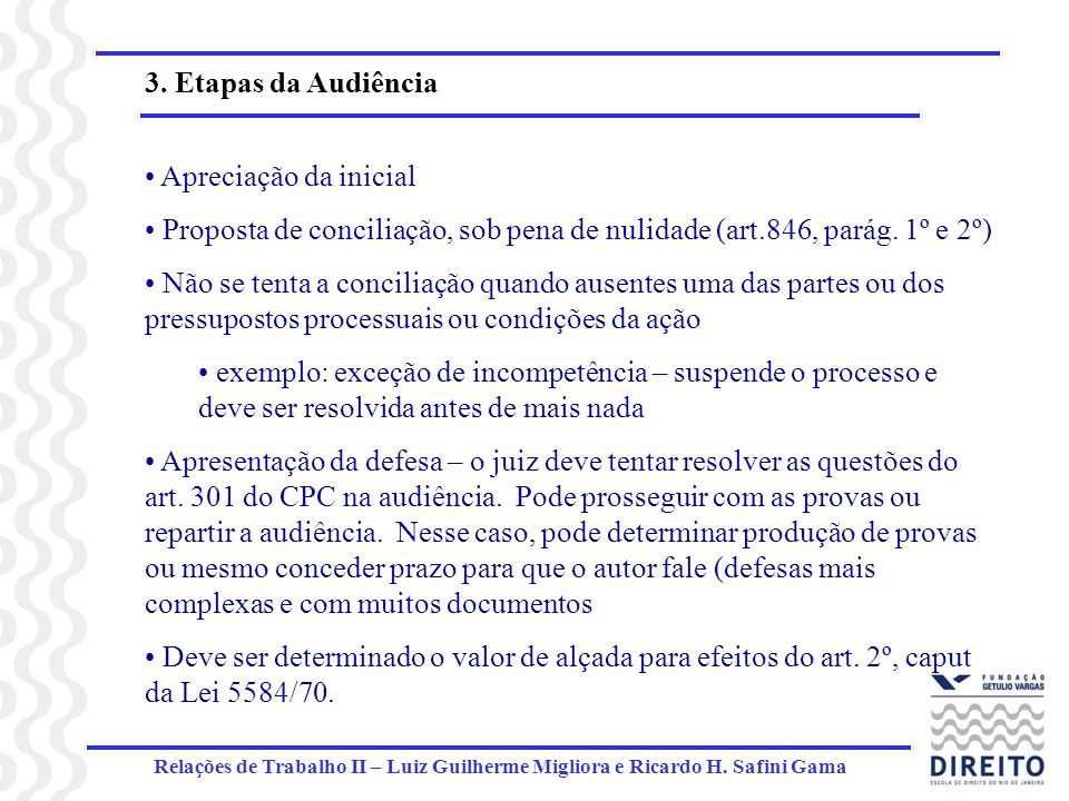Relações de Trabalho II – Luiz Guilherme Migliora e Ricardo H. Safini Gama 3. Etapas da Audiência Apreciação da inicial Proposta de conciliação, sob p