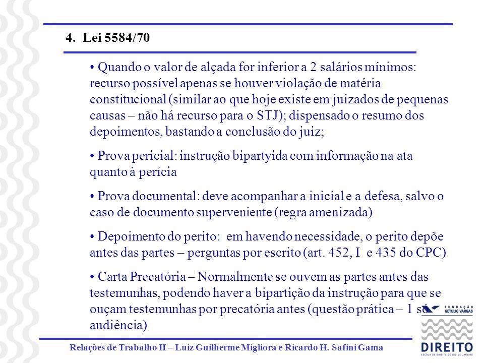 Relações de Trabalho II – Luiz Guilherme Migliora e Ricardo H. Safini Gama 4. Lei 5584/70 Quando o valor de alçada for inferior a 2 salários mínimos: