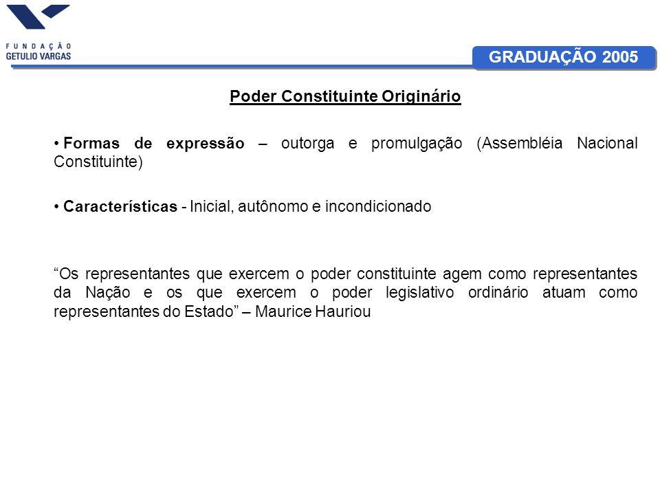 GRADUAÇÃO 2005 Poder Constituinte Originário Formas de expressão – outorga e promulgação (Assembléia Nacional Constituinte) Características - Inicial,