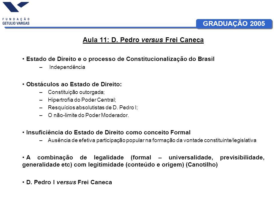 GRADUAÇÃO 2005 Aula 11: D. Pedro versus Frei Caneca Estado de Direito e o processo de Constitucionalização do Brasil – Independência Obstáculos ao Est