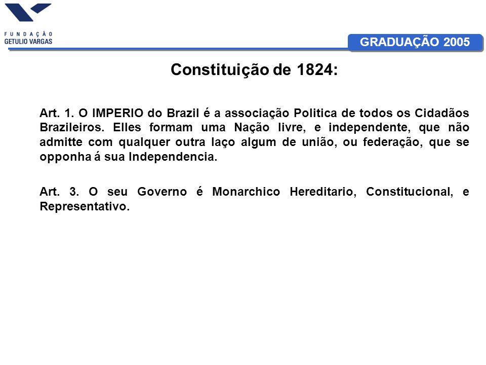 GRADUAÇÃO 2005 Constituição de 1824: Art. 1. O IMPERIO do Brazil é a associação Politica de todos os Cidadãos Brazileiros. Elles formam uma Nação livr