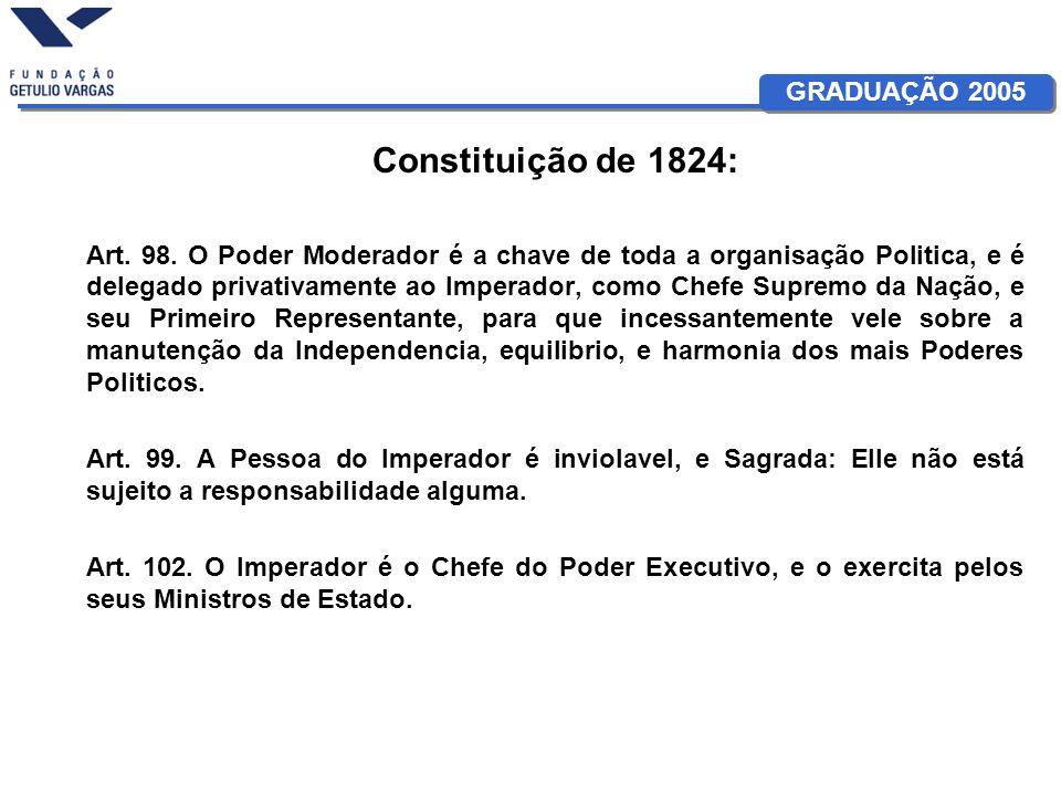 GRADUAÇÃO 2005 Constituição de 1824: Art. 98. O Poder Moderador é a chave de toda a organisação Politica, e é delegado privativamente ao Imperador, co
