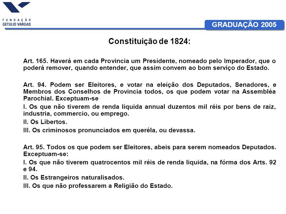 GRADUAÇÃO 2005 Constituição de 1824: Art. 165. Haverá em cada Provincia um Presidente, nomeado pelo Imperador, que o poderá remover, quando entender,