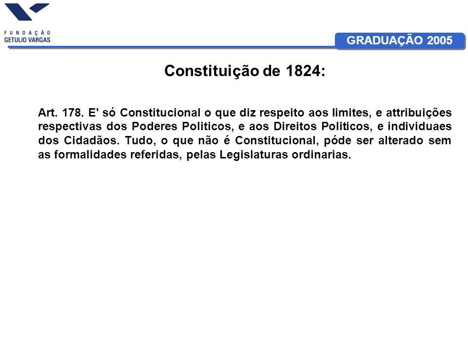 GRADUAÇÃO 2005 Constituição de 1824: Art. 178. E' só Constitucional o que diz respeito aos limites, e attribuições respectivas dos Poderes Politicos,