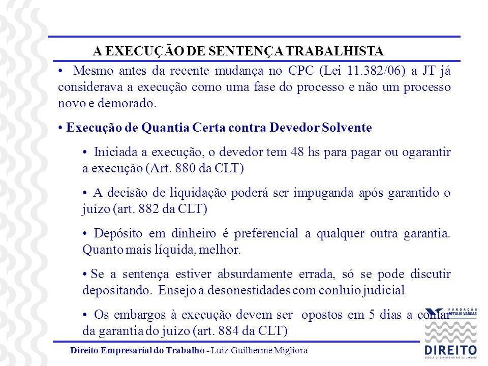 Direito Empresarial do Trabalho - Luiz Guilherme Migliora A EXECUÇÃO DE SENTENÇA TRABALHISTA As matérias que podem ser levantadas nos embargos são restritas (art.