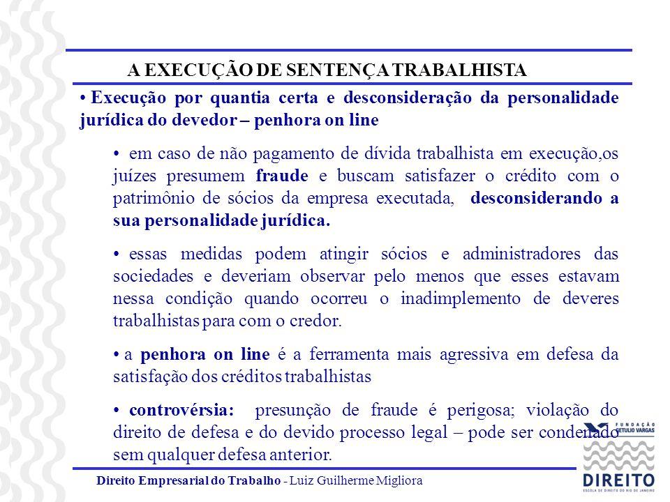 Direito Empresarial do Trabalho - Luiz Guilherme Migliora A EXECUÇÃO DE SENTENÇA TRABALHISTA Execução por quantia certa e desconsideração da personali