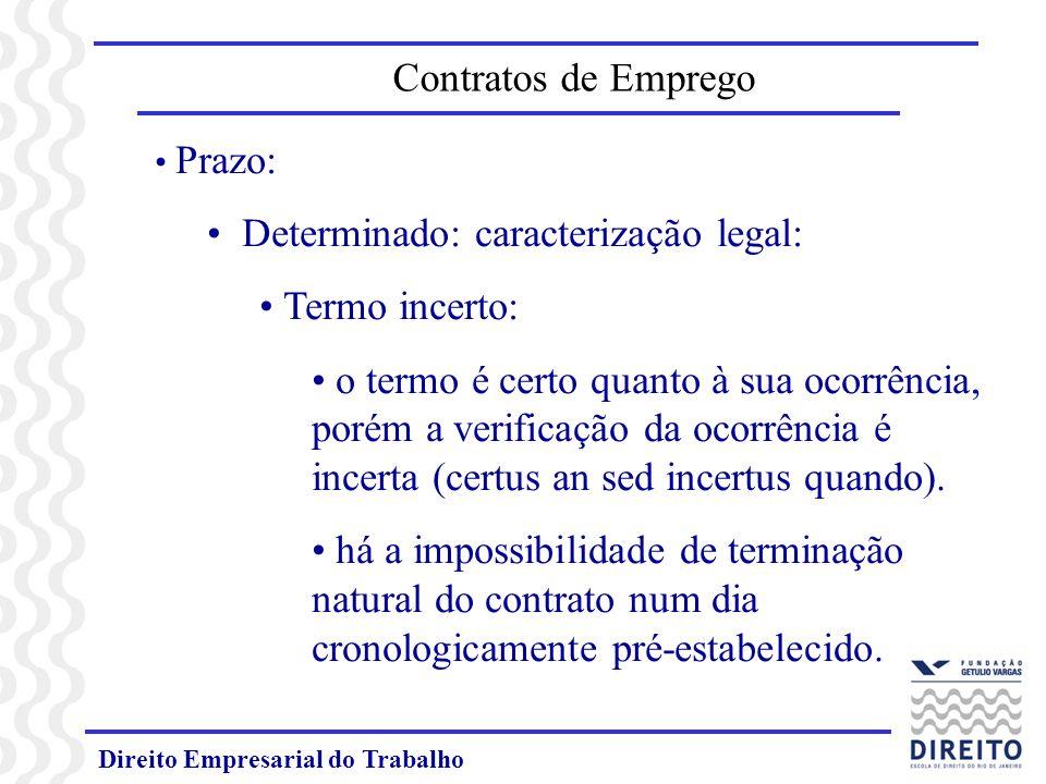 Direito Empresarial do Trabalho Prazo: Determinado: caracterização legal: Termo incerto: o termo é certo quanto à sua ocorrência, porém a verificação da ocorrência é incerta (certus an sed incertus quando).