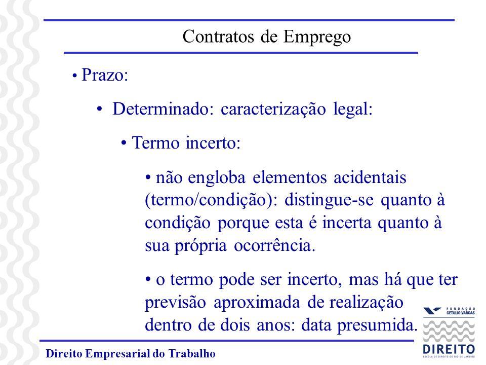 Direito Empresarial do Trabalho Prazo: Determinado: caracterização legal: Termo incerto: não engloba elementos acidentais (termo/condição): distingue-