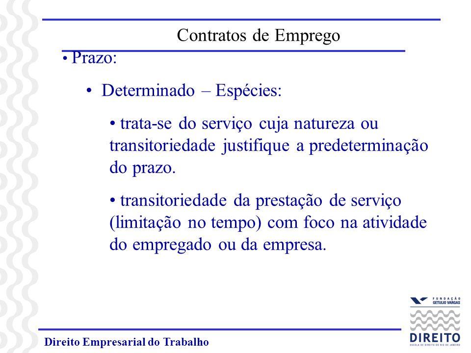 Direito Empresarial do Trabalho Prazo: Determinado – Espécies: trata-se do serviço cuja natureza ou transitoriedade justifique a predeterminação do prazo.
