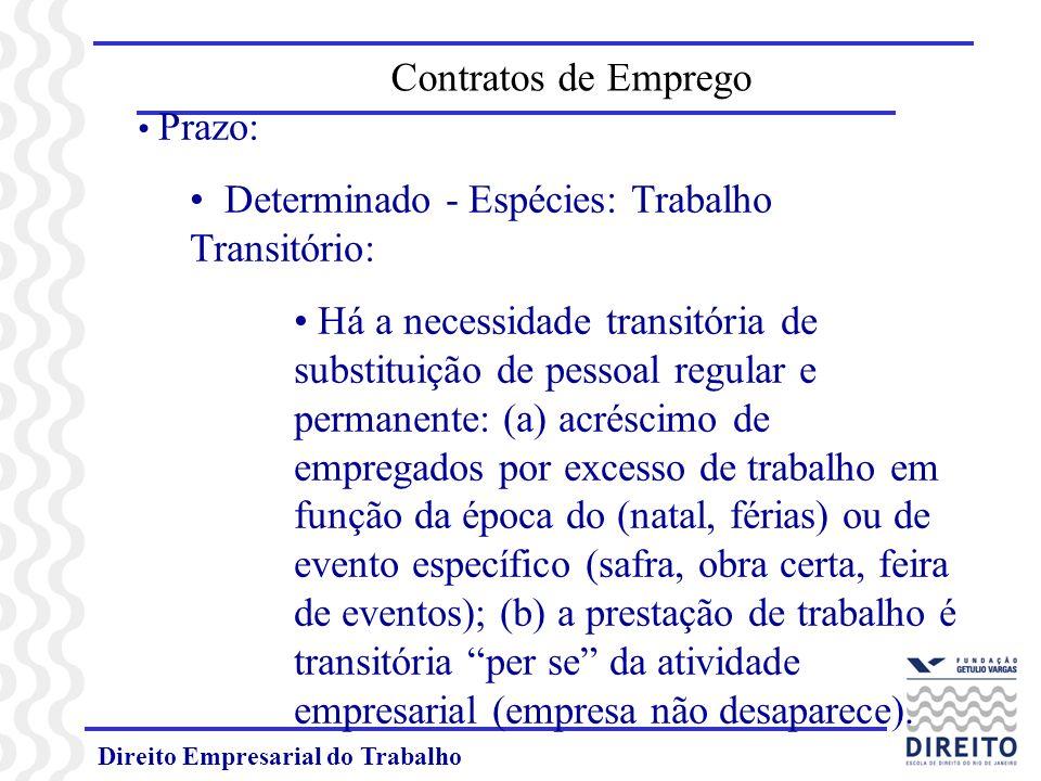 Direito Empresarial do Trabalho Prazo: Determinado - Espécies: Trabalho Transitório: Há a necessidade transitória de substituição de pessoal regular e