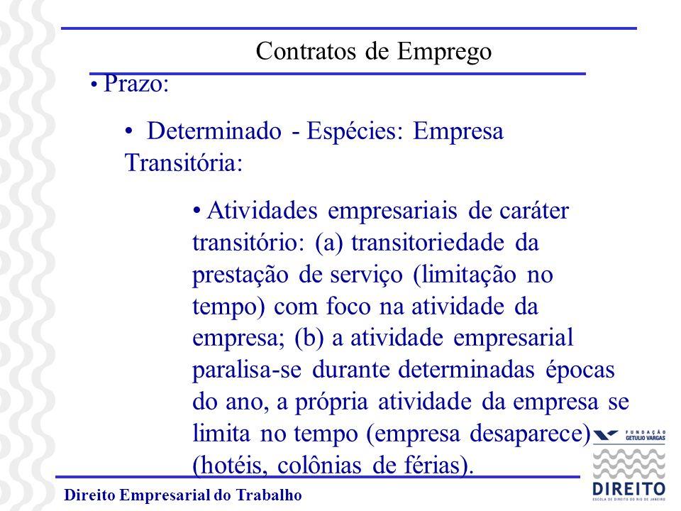Direito Empresarial do Trabalho Prazo: Determinado - Espécies: Empresa Transitória: Atividades empresariais de caráter transitório: (a) transitoriedad
