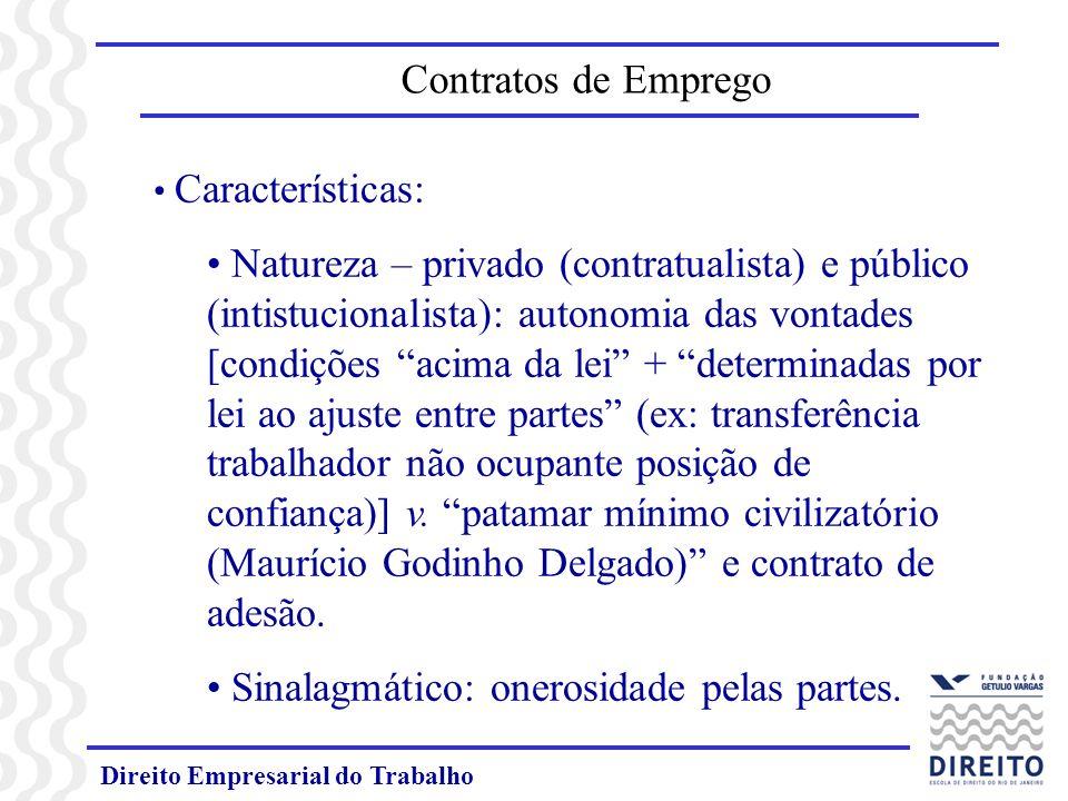 Direito Empresarial do Trabalho Características: Natureza – privado (contratualista) e público (intistucionalista): autonomia das vontades [condições