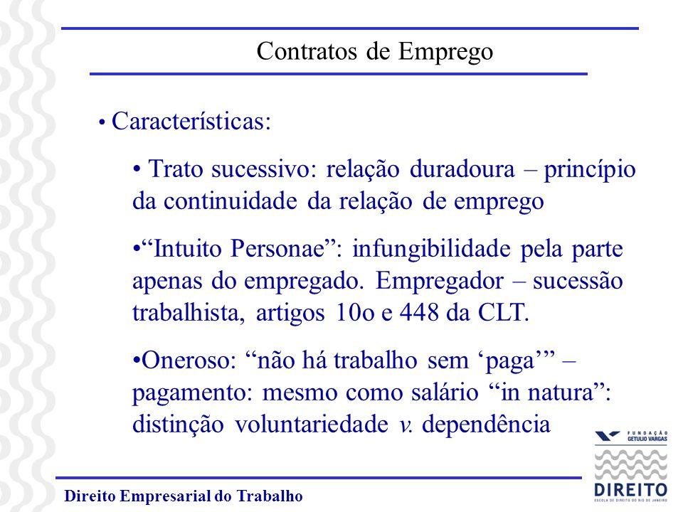 Direito Empresarial do Trabalho Características: Trato sucessivo: relação duradoura – princípio da continuidade da relação de emprego Intuito Personae: infungibilidade pela parte apenas do empregado.