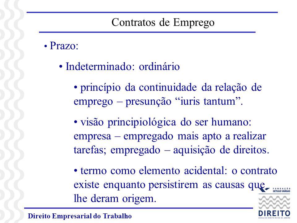 Direito Empresarial do Trabalho Prazo: Indeterminado: ordinário princípio da continuidade da relação de emprego – presunção iuris tantum.