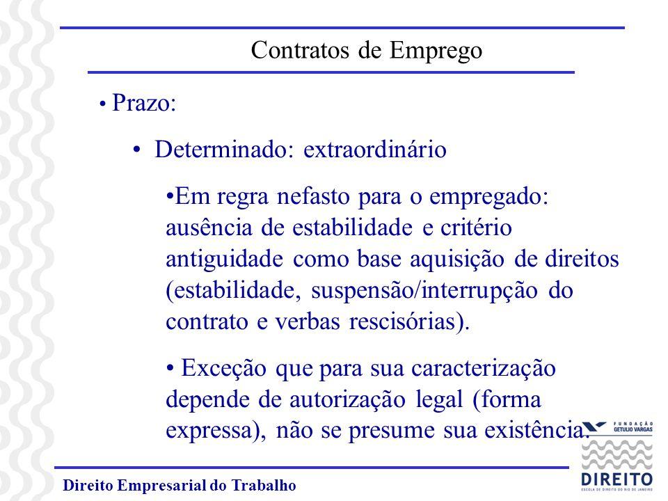 Direito Empresarial do Trabalho Prazo: Determinado: extraordinário Em regra nefasto para o empregado: ausência de estabilidade e critério antiguidade