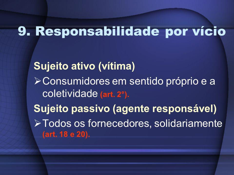 9. Responsabilidade por vício Sujeito ativo (vítima) Consumidores em sentido próprio e a coletividade (art. 2°). Sujeito passivo (agente responsável)