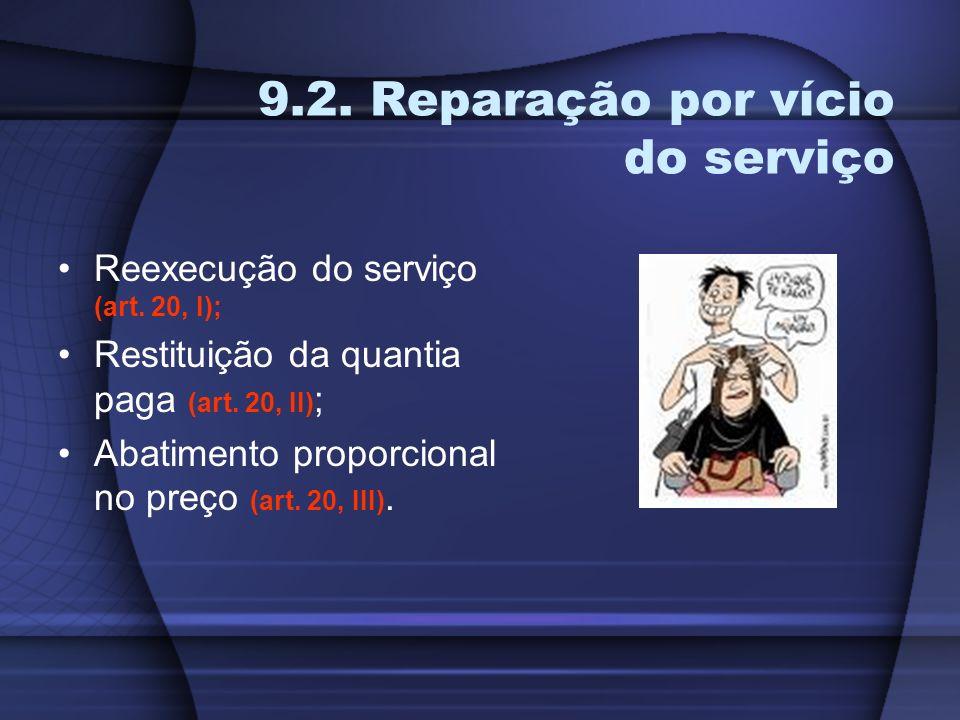 9.2. Reparação por vício do serviço Reexecução do serviço (art. 20, I); Restituição da quantia paga (art. 20, II) ; Abatimento proporcional no preço (