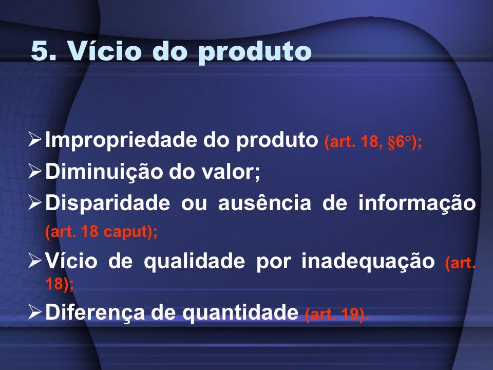 5. Vício do produto Impropriedade do produto (art. 18, §6°); Diminuição do valor; Disparidade ou ausência de informação (art. 18 caput); Vício de qual