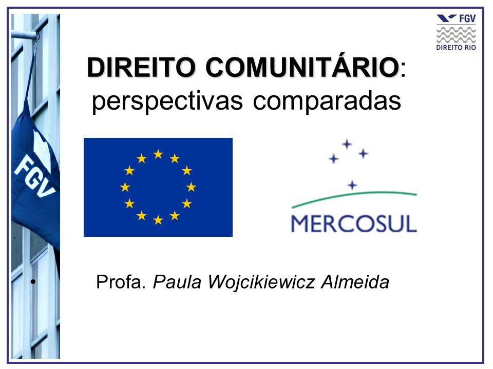 DIREITO COMUNITÁRIO DIREITO COMUNITÁRIO: perspectivas comparadas Profa. Paula Wojcikiewicz Almeida