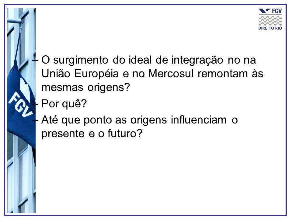 –O surgimento do ideal de integração no na União Européia e no Mercosul remontam às mesmas origens? –Por quê? –Até que ponto as origens influenciam o