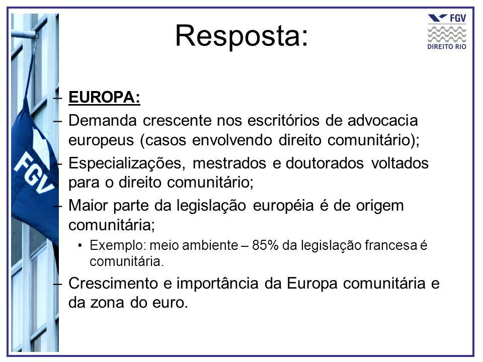 Resposta: –EUROPA: –Demanda crescente nos escritórios de advocacia europeus (casos envolvendo direito comunitário); –Especializações, mestrados e dout