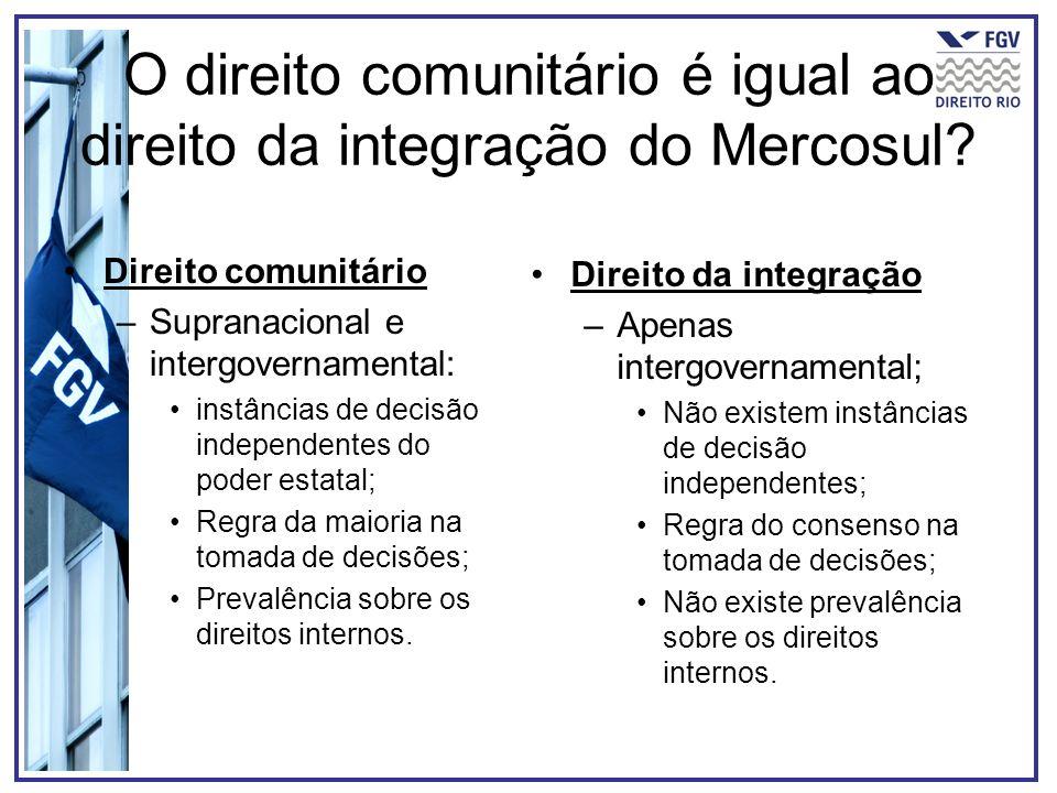 O direito comunitário é igual ao direito da integração do Mercosul? Direito comunitário –Supranacional e intergovernamental: instâncias de decisão ind