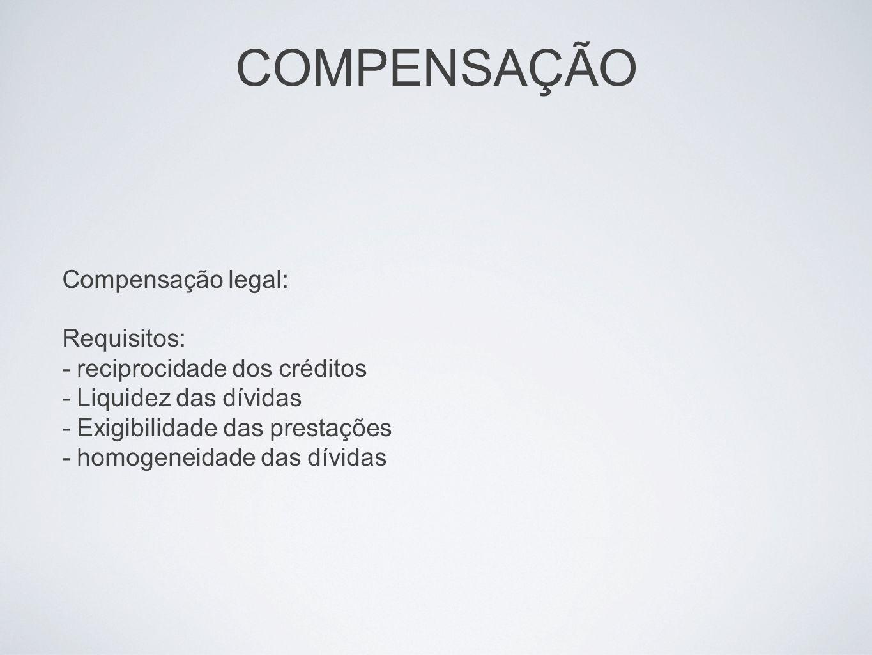COMPENSAÇÃO Compensação legal: Requisitos: - reciprocidade dos créditos - Liquidez das dívidas - Exigibilidade das prestações - homogeneidade das dívi
