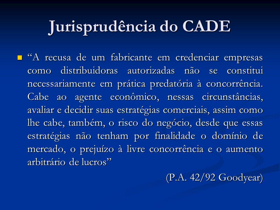 Jurisprudência do CADE A recusa de um fabricante em credenciar empresas como distribuidoras autorizadas não se constitui necessariamente em prática pr