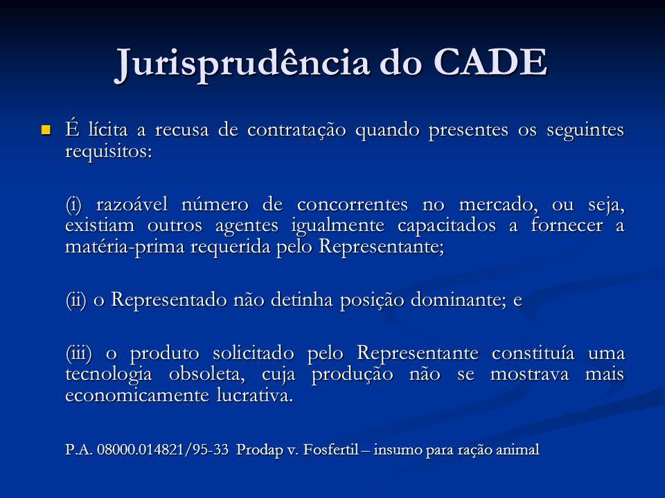 Jurisprudência do CADE É lícita a recusa de contratação quando presentes os seguintes requisitos: É lícita a recusa de contratação quando presentes os