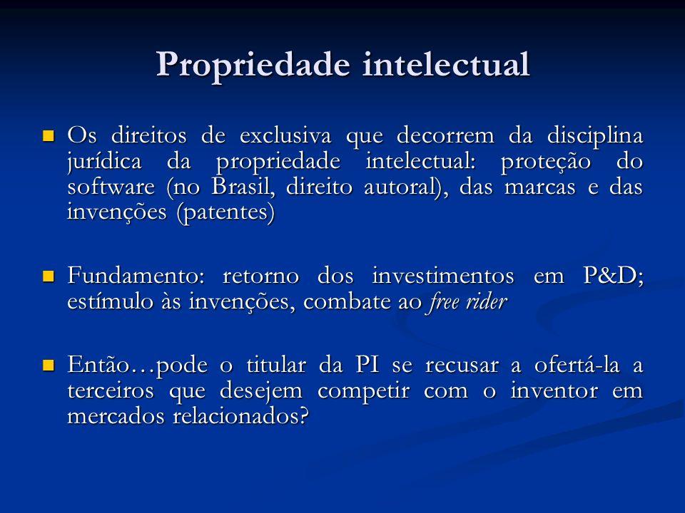 Propriedade intelectual Os direitos de exclusiva que decorrem da disciplina jurídica da propriedade intelectual: proteção do software (no Brasil, dire